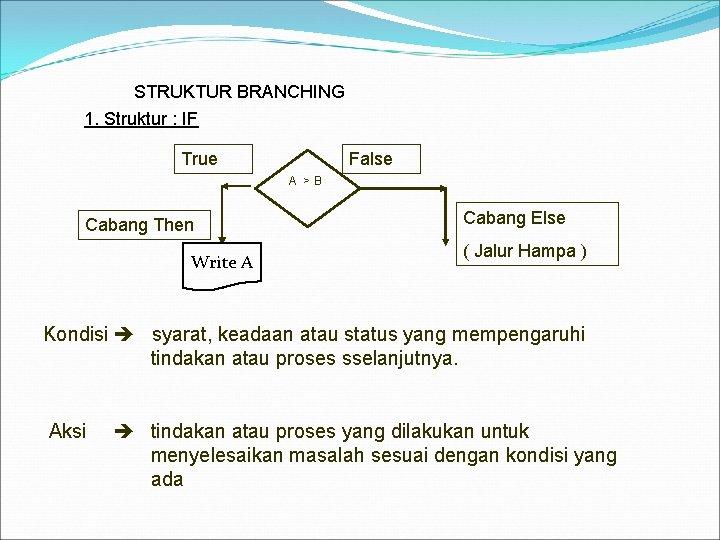 STRUKTUR BRANCHING 1. Struktur : IF True False A >B Cabang Then Write
