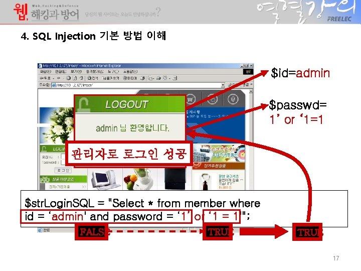4. SQL Injection 기본 방법 이해 $id=admin $passwd= 1' or ' 1=1 admin *****