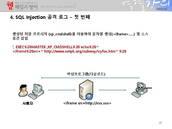 4. SQL Injection 공격 로그 – 첫 번째 생성된 저장 프로시저 (xp_cmdshell)를 이용하여 문자열