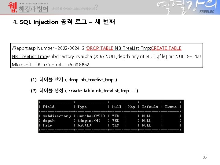4. SQL Injection 공격 로그 – 세 번째 /Report. asp Number=2002 -002412'; DROP TABLE