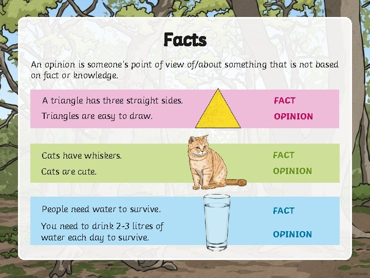 Facts An opinion is someone's point of view of/about something that is not based