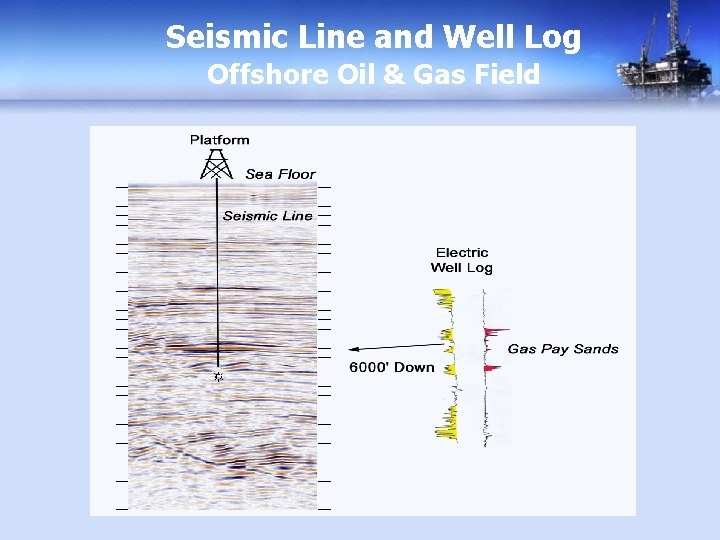 Seismic Line and Well Log Offshore Oil & Gas Field