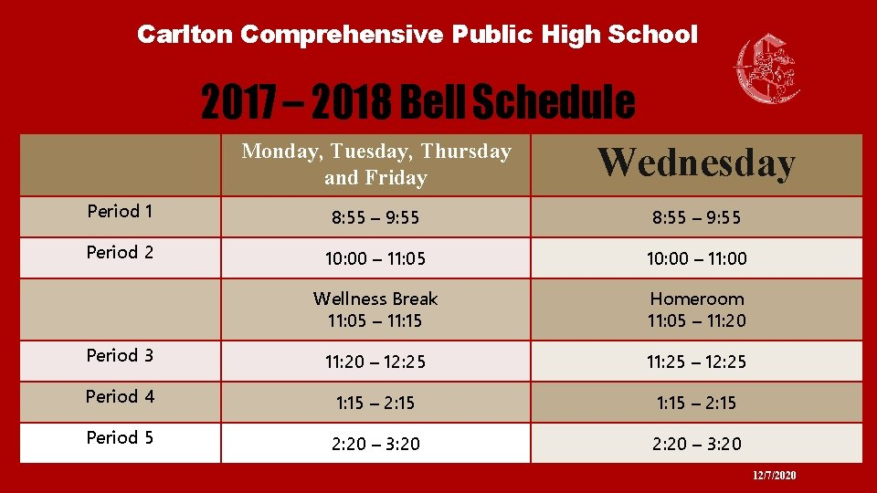 Carlton Comprehensive Public High School 2017 – 2018 Bell Schedule Monday, Tuesday, Thursday and