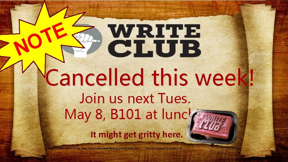 E T O N Cancelled this week! Join us next Tues. May 8, B