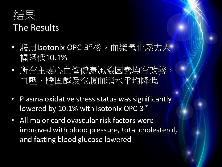 結果 The Results • 服用Isotonix OPC-3®後,血漿氧化壓力大 幅降低10. 1% • 所有主要心血管健康風險因素均有改善, 血壓、膽固醇及空腹血糖水平均降低 • Plasma oxidative