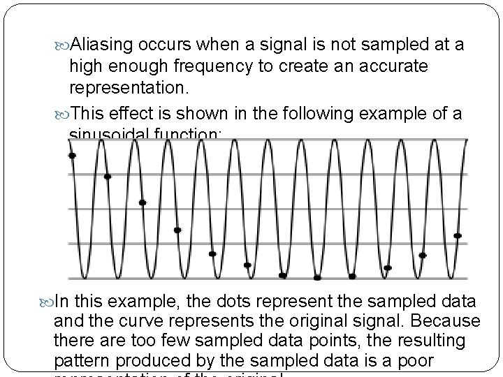 Aliasing occurs when a signal is not sampled at a high enough frequency