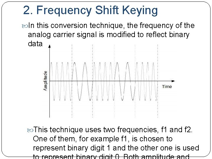 2. Frequency Shift Keying In this conversion technique, the frequency of the analog carrier