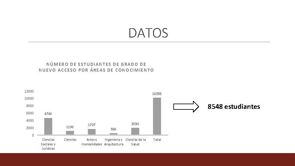 DATOS NÚMERO DE ESTUDIANTES DE GRADO DE NUEVO ACCESO POR ÁREAS DE CONOCIMIENTO 12000