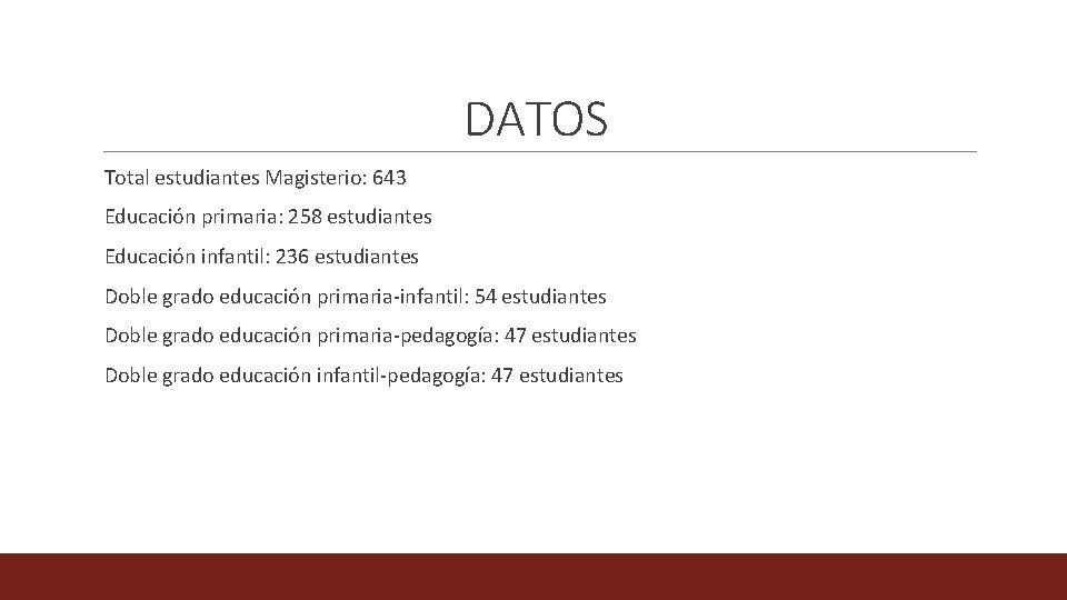DATOS Total estudiantes Magisterio: 643 Educación primaria: 258 estudiantes Educación infantil: 236 estudiantes Doble