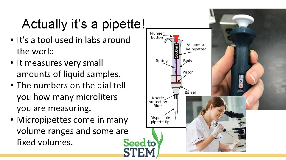 Actually it's a pipette! • It's a tool used in labs around the world