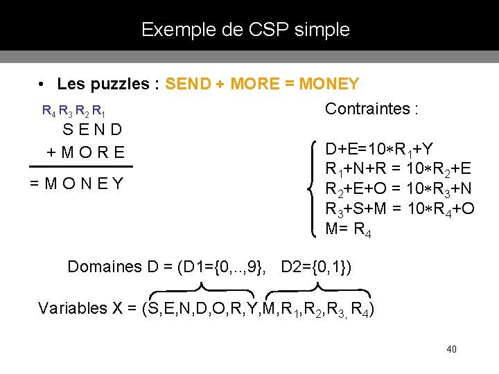 Exemple de CSP simple • Les puzzles : SEND + MORE = MONEY Contraintes
