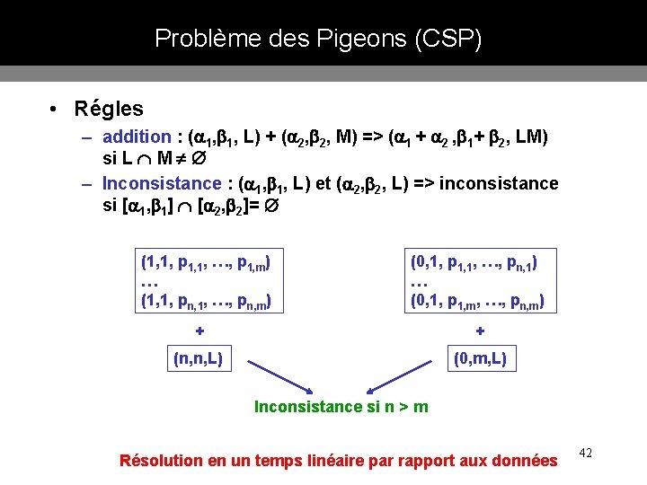 Problème des Pigeons (CSP) • Régles – addition : ( 1, 1, L) +