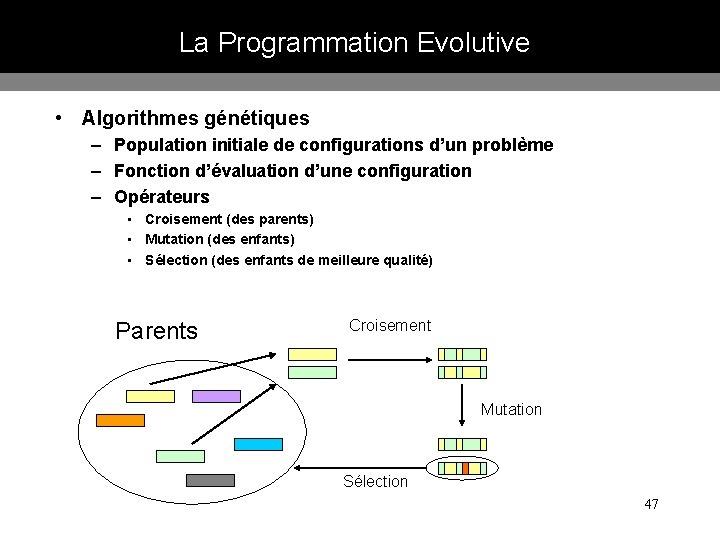 La Programmation Evolutive • Algorithmes génétiques – Population initiale de configurations d'un problème –