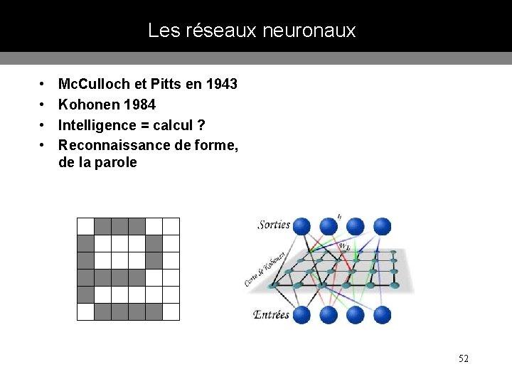 Les réseaux neuronaux • • Mc. Culloch et Pitts en 1943 Kohonen 1984 Intelligence