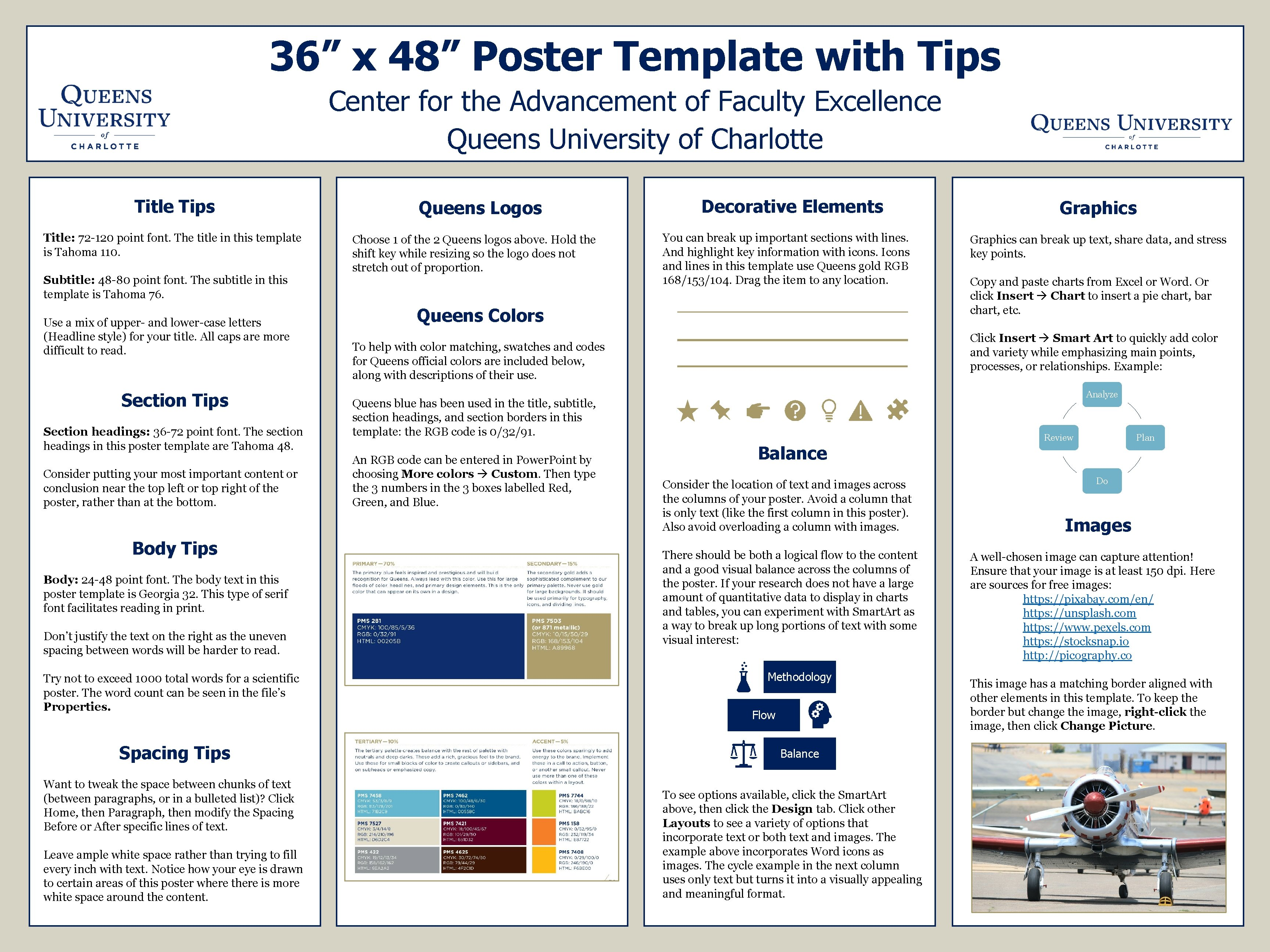 "36"" x 48"" Poster Template with Tips Center for the Advancement of Faculty Excellence"