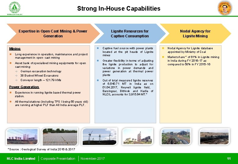 Strong In-House Capabilities Expertise in Open Cast Mining & Power Generation Mining n n