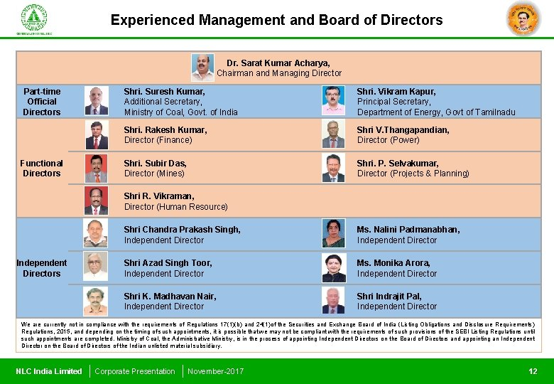 Experienced Management and Board of Directors Dr. Sarat Kumar Acharya, Chairman and Managing Director