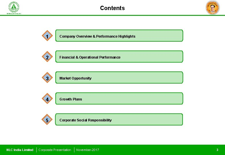 Contents NLC India Limited 1 Company Overview & Performance Highlights 2 Financial & Operational