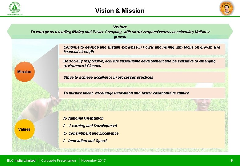 Vision & Mission Vision: To emerge as a leading Mining and Power Company, with