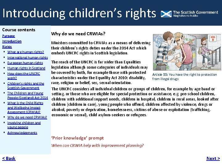 Introducing children's rights Course contents Purpose Introduction Rights What are human rights? International human