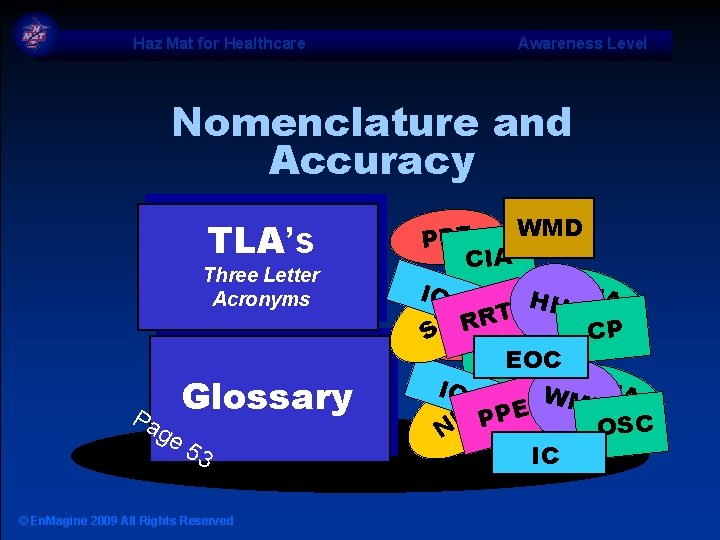 Haz Mat for Healthcare Awareness Level Nomenclature and Accuracy TLA's Three Letter Acronyms Pa
