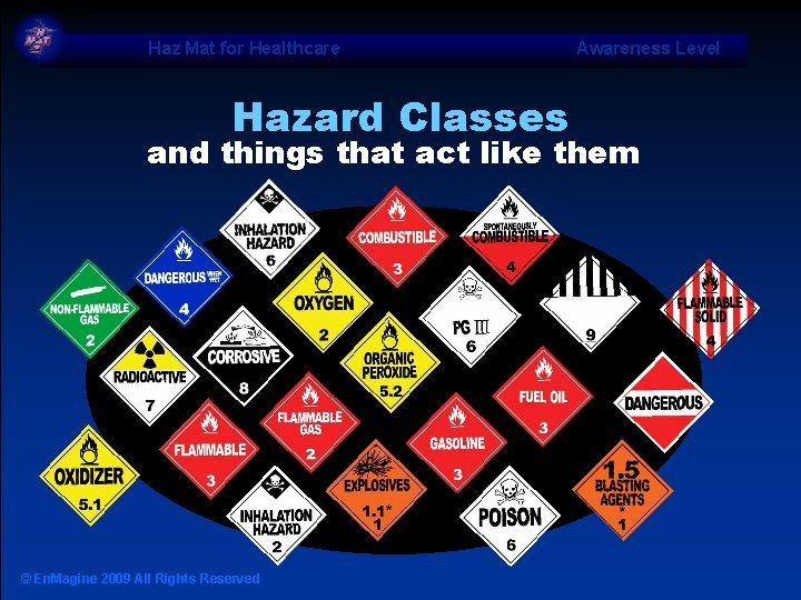 Haz Mat for Healthcare Hazard Classes Awareness Level and things that act like them