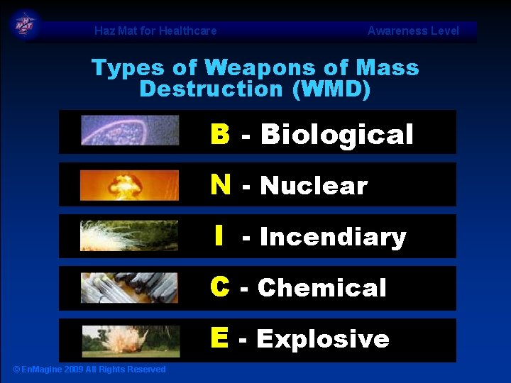 Haz Mat for Healthcare Awareness Level Types of Weapons of Mass Destruction (WMD) B