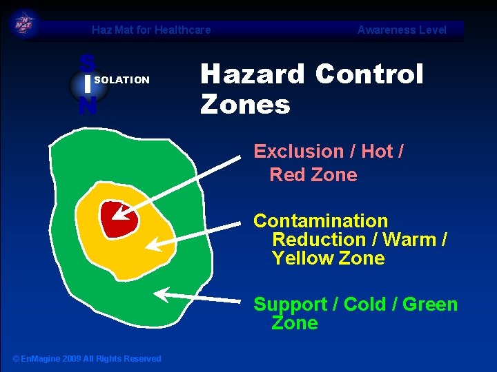 Haz Mat for Healthcare S I N SOLATION Awareness Level Hazard Control Zones Exclusion