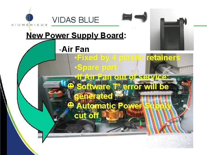VIDAS BLUE New Power Supply Board: -Air Fan • Fixed by 4 plastic retainers