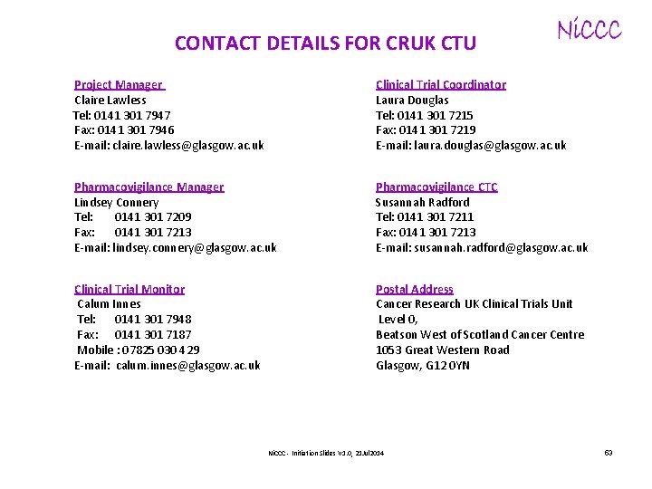 CONTACT DETAILS FOR CRUK CTU Project Manager Claire Lawless Tel: 0141 301 7947 Fax:
