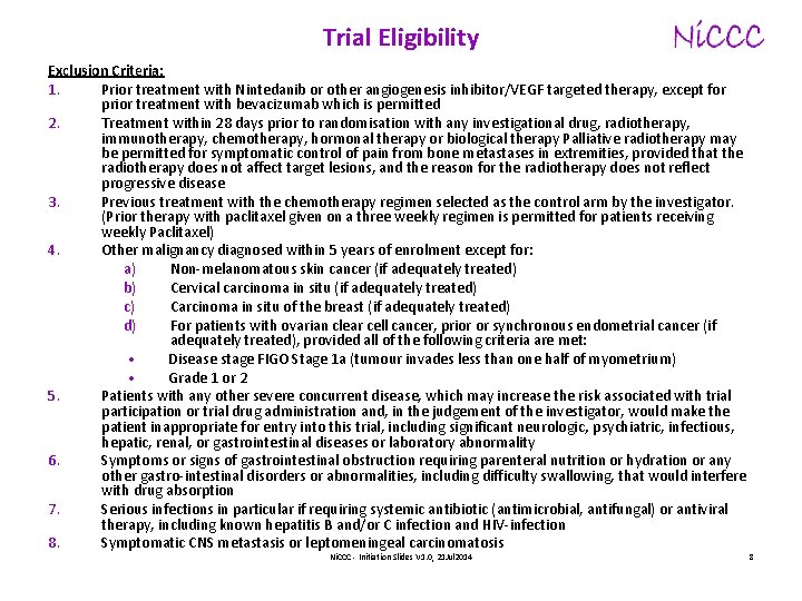 Trial Eligibility Exclusion Criteria: 1. Prior treatment with Nintedanib or other angiogenesis inhibitor/VEGF targeted