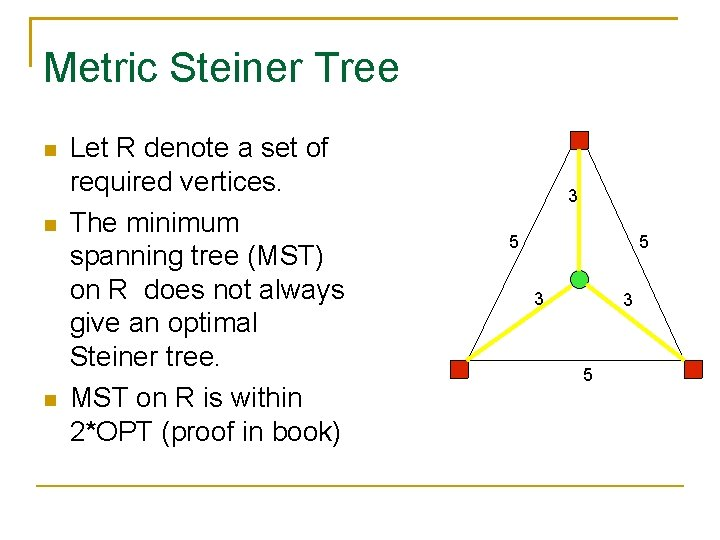 Metric Steiner Tree Let R denote a set of required vertices. The minimum spanning