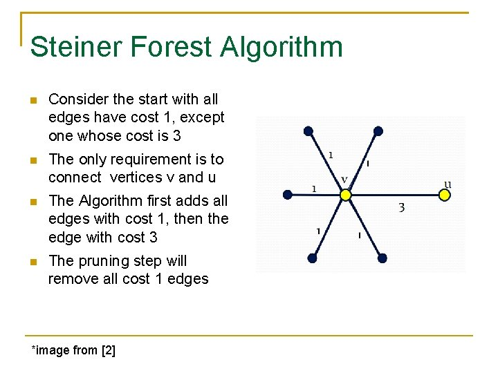 Steiner Forest Algorithm Consider the start with all edges have cost 1, except one