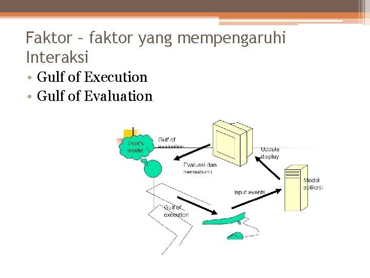 Faktor – faktor yang mempengaruhi Interaksi • Gulf of Execution • Gulf of Evaluation