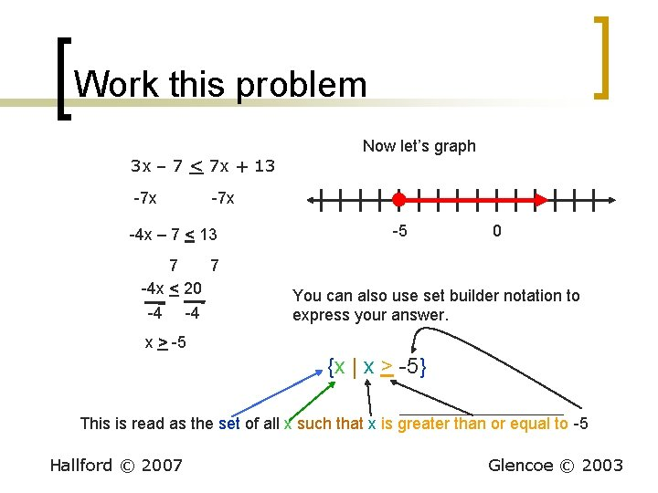 Work this problem Now let's graph 3 x – 7 < 7 x +