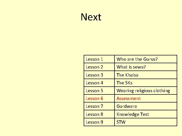 Next Lesson 1 Who are the Gurus? Lesson 2 What is sewa? Lesson 3