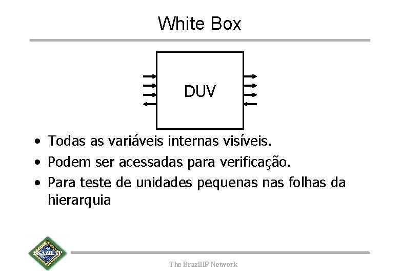 White Box DUV • Todas as variáveis internas visíveis. • Podem ser acessadas para