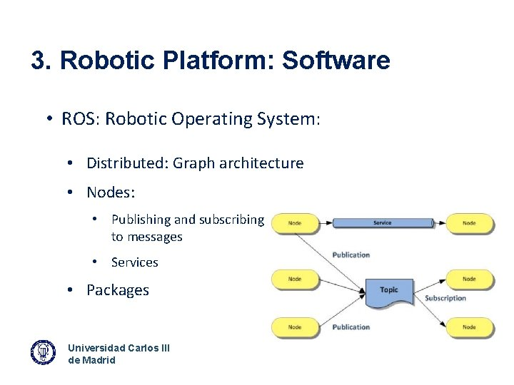 3. Robotic Platform: Software • ROS: Robotic Operating System: • Distributed: Graph architecture •