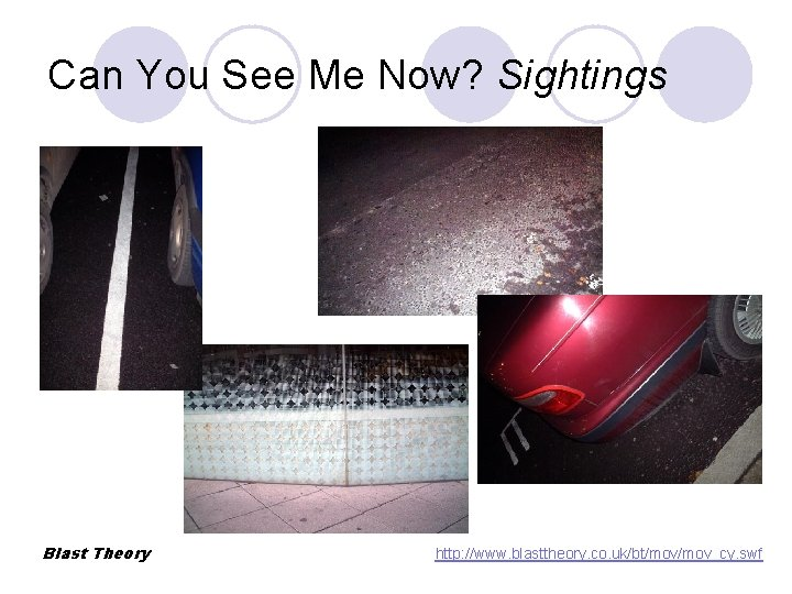 Can You See Me Now? Sightings Blast Theory http: //www. blasttheory. co. uk/bt/mov_cy. swf