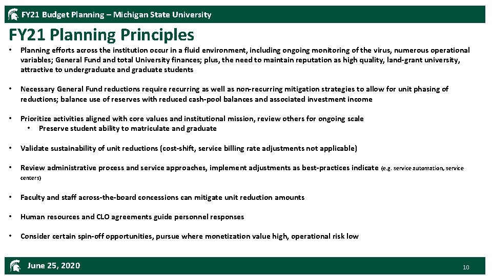 FY 21 Budget Planning – Michigan State University FY 21 Planning Principles • Planning