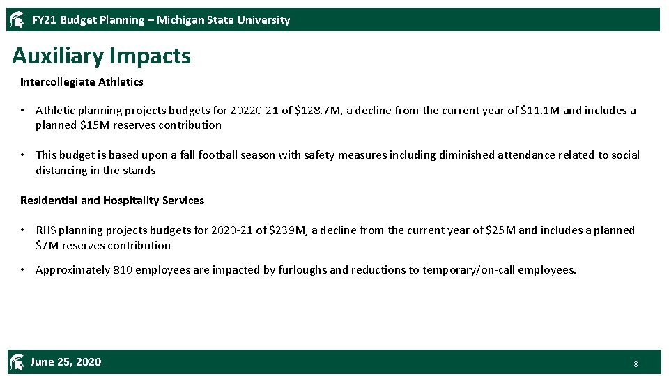 FY 21 Budget Planning – Michigan State University Auxiliary Impacts Intercollegiate Athletics • Athletic