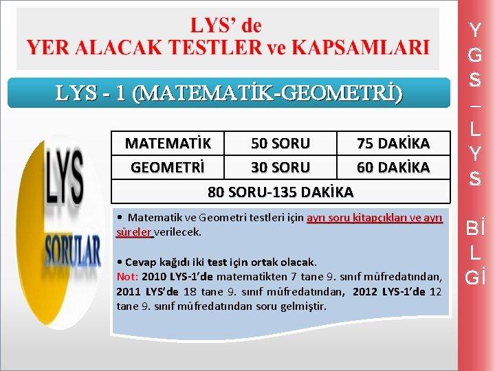 LYS - 1 (MATEMATİK-GEOMETRİ) MATEMATİK 50 SORU 75 DAKİKA GEOMETRİ 30 SORU 60 DAKİKA