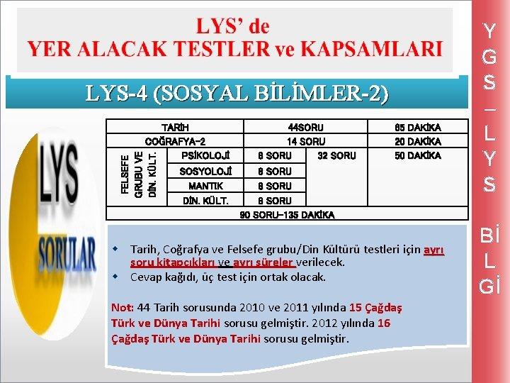 LYS-4 (SOSYAL BİLİMLER-2) FELSEFE GRUBU VE DİN. KÜLT. TARİH COĞRAFYA-2 PSİKOLOJİ SOSYOLOJİ MANTIK DİN.