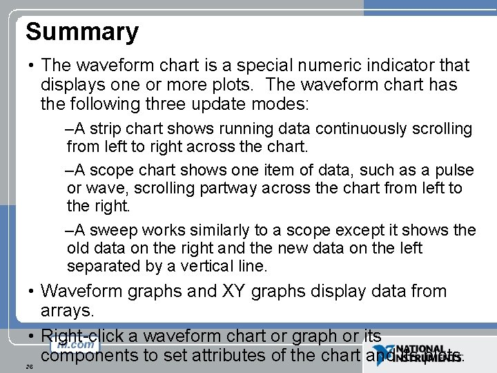 Summary • The waveform chart is a special numeric indicator that displays one or