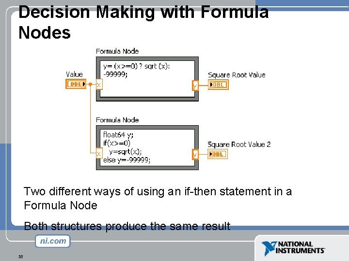 Decision Making with Formula Nodes Two different ways of using an if-then statement in