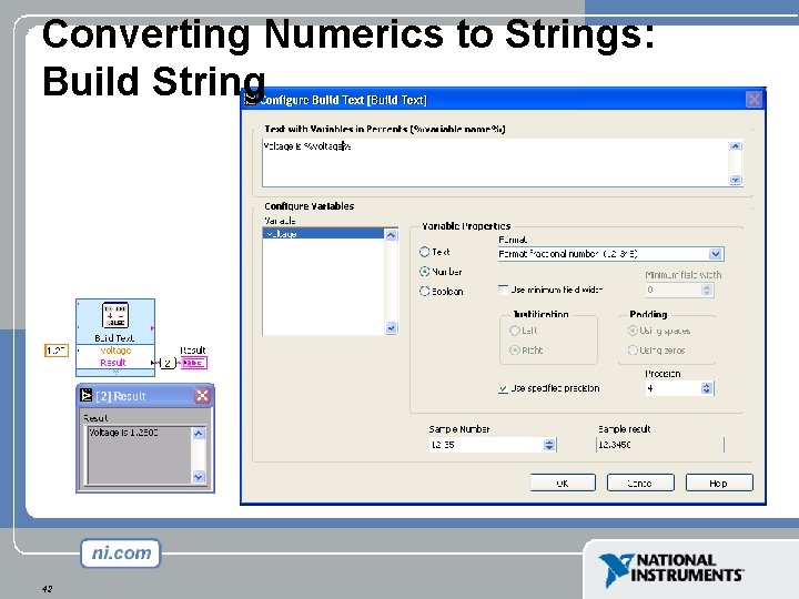 Converting Numerics to Strings: Build String 42
