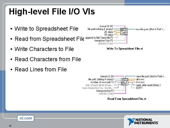 High-level File I/O VIs • Write to Spreadsheet File • Read from Spreadsheet File
