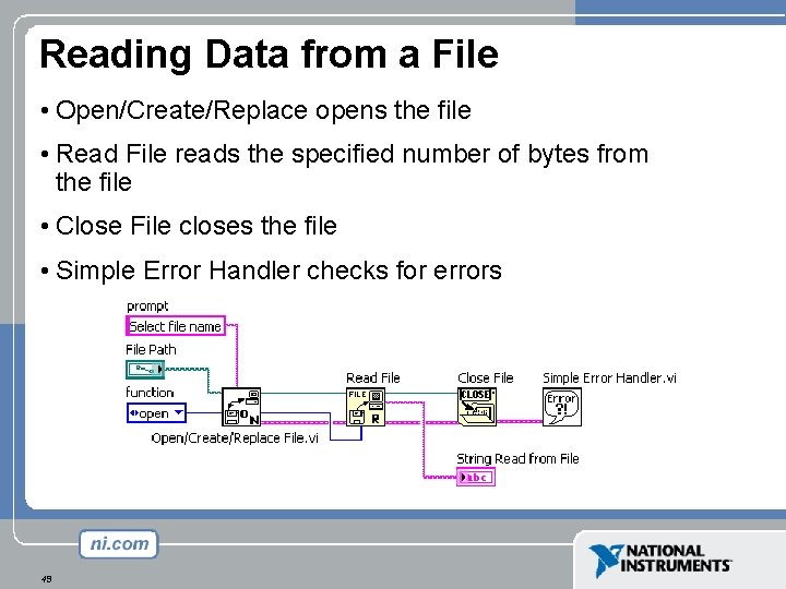 Reading Data from a File • Open/Create/Replace opens the file • Read File reads
