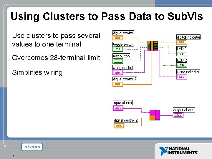 Using Clusters to Pass Data to Sub. VIs Use clusters to pass several values