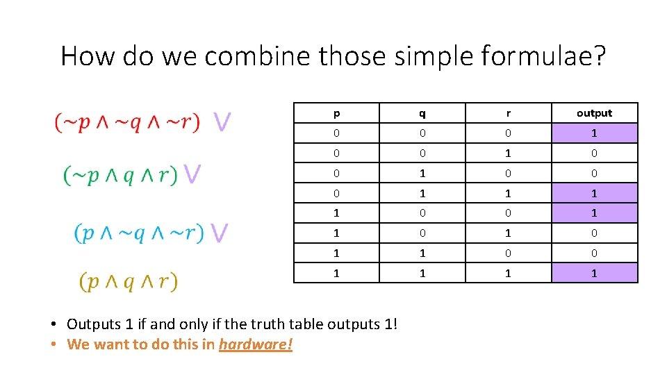 How do we combine those simple formulae? p q r output 0 0 0